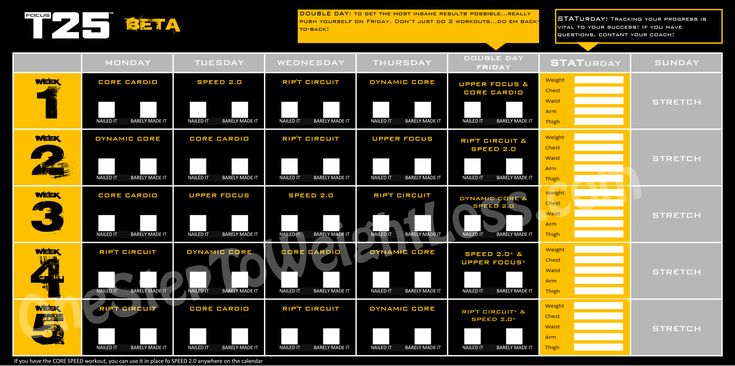 Focus T25 workout schedule beta phase (phase 2)