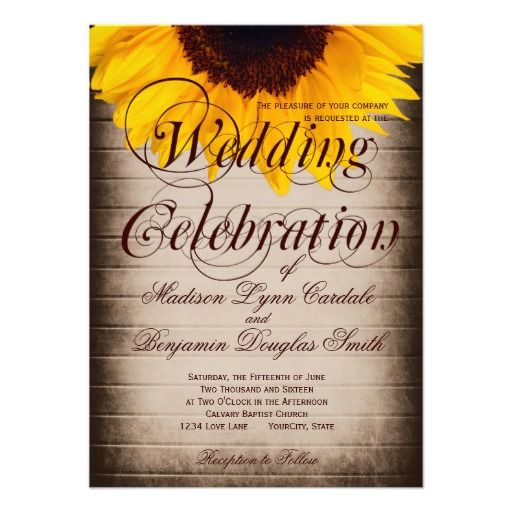 Rustic Country Sunflower Wedding Invitations on a distressed antique brown barn wood background.  The back is full color with a small sunflower in the corner.  Click to see the design on back.  Rustic Wedding Invitations