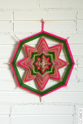 pink and green yarn mandala, God's Eye, or dream catcher - nice wall art ornament!