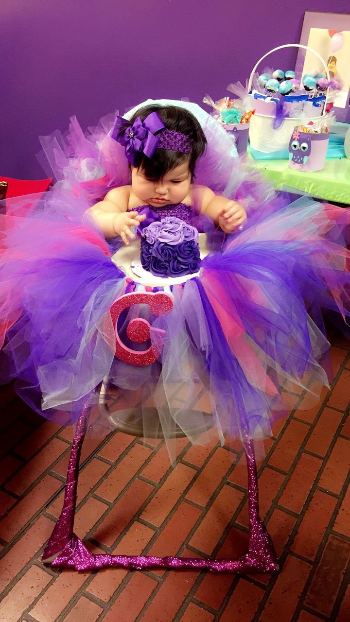 Baby girl birthday purple smash cake homemade dyi rosettes tutu high chair pink gliter