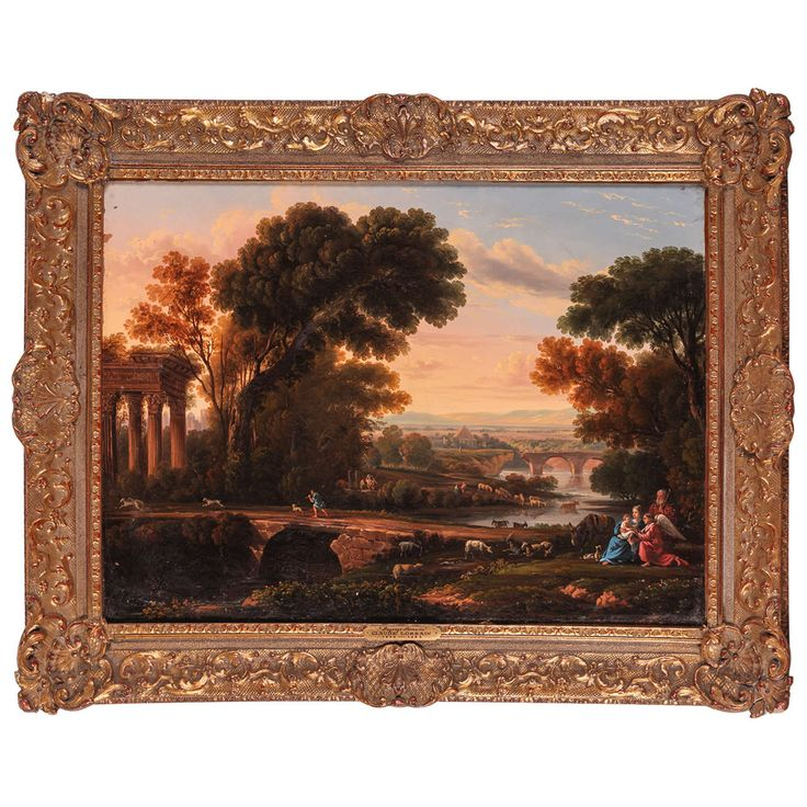 After Claude Lorrain, Lanscape with rest in flight to Egypt, 19th Century | From a unique collection of antique and modern paintings at https://www.1stdibs.com/furniture/wall-decorations/paintings/