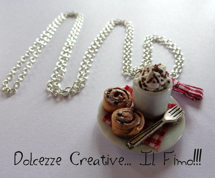 Collana Colazione - Dolci alla cannella e tazza di cioccolata con panna, by Dolcezze creative.. il fimo!! , 12,00  su misshobby.com