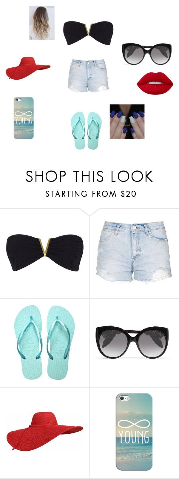 """""""beach"""" by arinicole4l ❤ liked on Polyvore featuring River Island, Topshop, Havaianas, Alexander McQueen, Casetify and Lime Crime"""