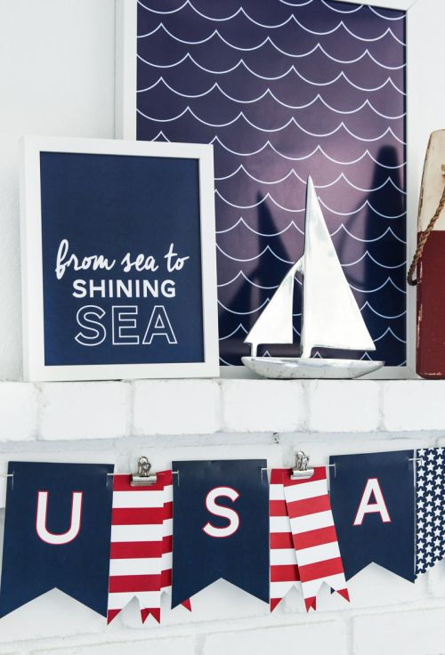 Free printable 4th of July decor. Nautical themed mantel. From sea to shining sea!