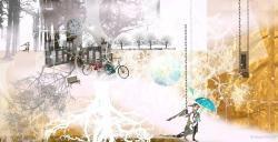 bikes parking at trees in park white golden angel umbrella wind weather illustration Ilona Reny