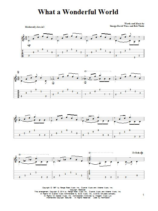 Louis Armstrong: What A Wonderful World - Partition Tablature Guitare - Plus de 70.000 partitions à imprimer !