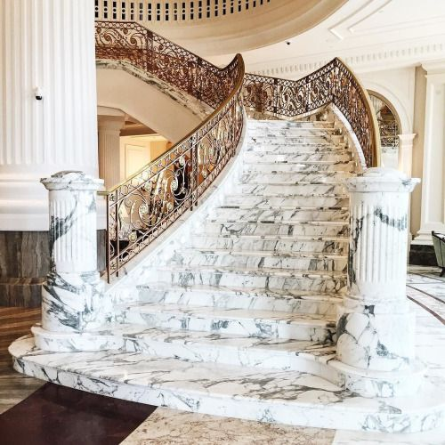 Marble staircase with gold banister | luxury homes, dream home, grand staircase