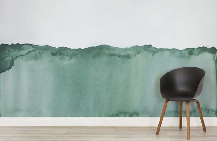 green wave-abstract expressionist-room-wall mural-kj