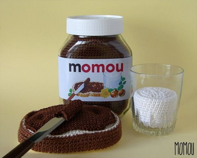 Crocheted Nutella and Milk by MomouKnits Crochet, Crochet Food, Crochet Nutella, Crochella, Nutella Recipes, Crochet Sweets, Photo, Amigurumi, Momou Crochet
