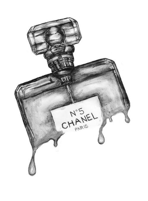illustration art watercolor grey black chanel parfum make-up paris bright lovely cute soft decoration happy summer