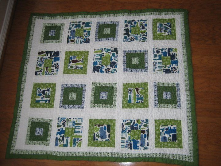 green and blue baby quilt