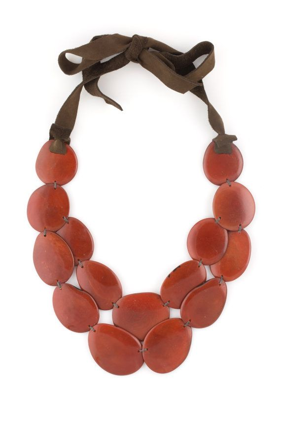 Burnt Orange Tagua & Leather Statement by LaPucaraCollections