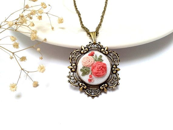 Hand embroidered Floral necklace coral pink roses. by ConeBomBom