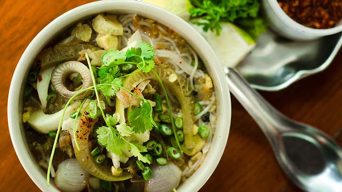 Mohinga is a hot and sour fish-based broth poured over #noodles. It's enjoyed in Burma for breakfast! Try Luke Nguyen's recipe today. Watch the video recipe here.