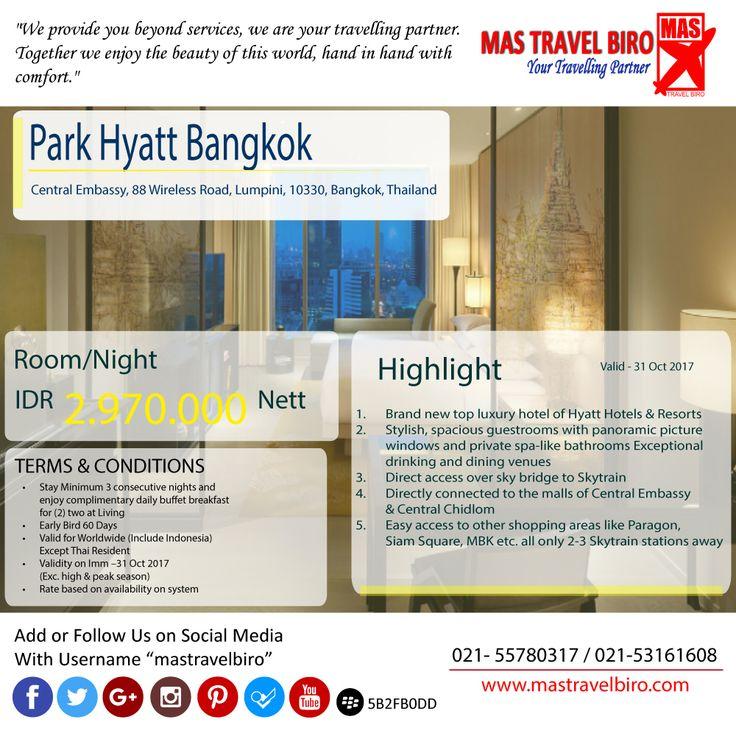 Rencana Ke Bangkok, tapi belum ada tempat bermalam. Yuk cek promo hotel Park Hyatt Bangkok. Harga cuma Rp 2.970.000 , cepet deh pesen. 🤗 #mastravelbiro #promohotel #Bangkok