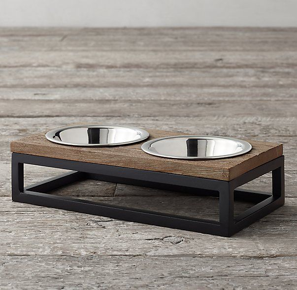 Restoration Hardware - Oak & Iron Pet Bowl Set