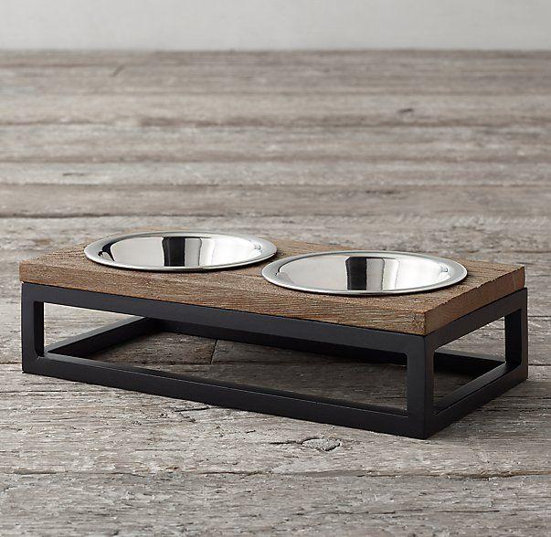 Restoration Hardware - Oak & Iron Pet Bowl Set