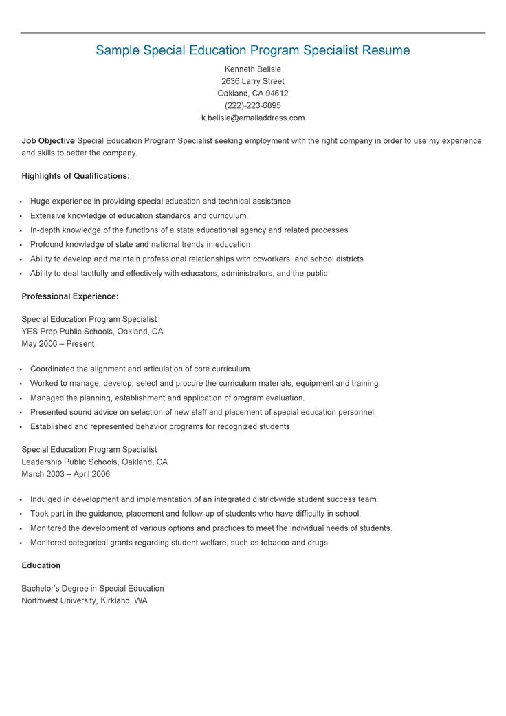 235 best resame images on Pinterest Website, Sample resume and - Sample Special Education Teacher Resume