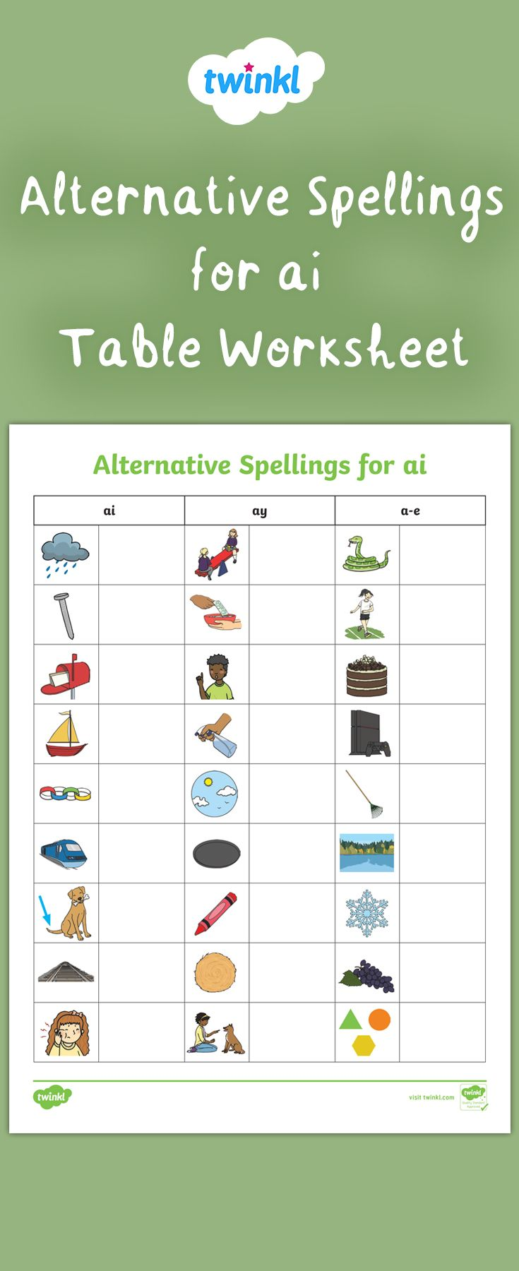 Primary Phonics - Alternative Spellings for 'ai' - Table Worksheet    Phonics activities [ 1800 x 735 Pixel ]