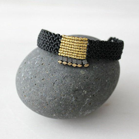 Black and gold macrame bracelet Micro macrame jewelry Gift for her Christmas gift