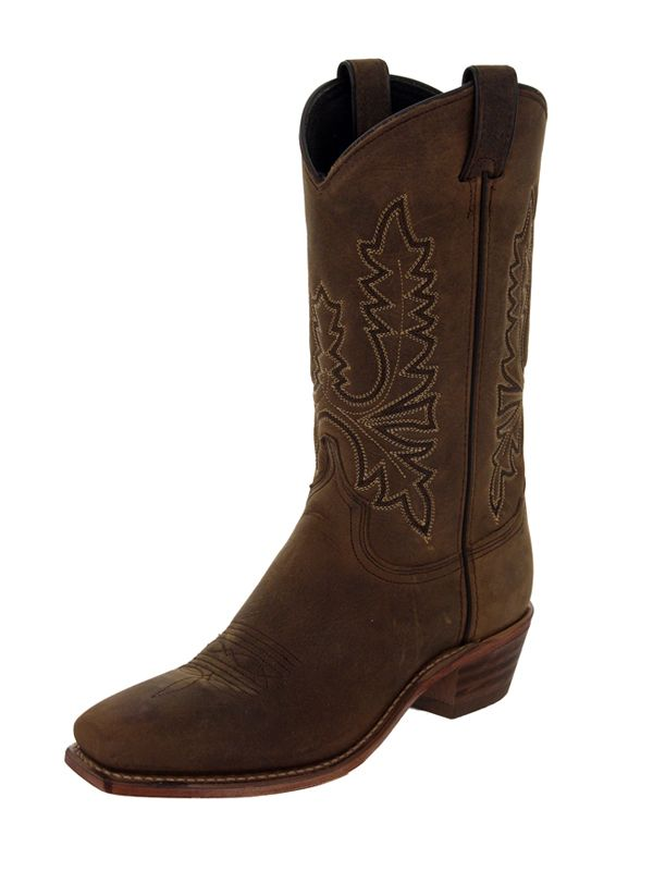 Womens Abilene Olive Brown Oiled Cowhide Western Boots 9011
