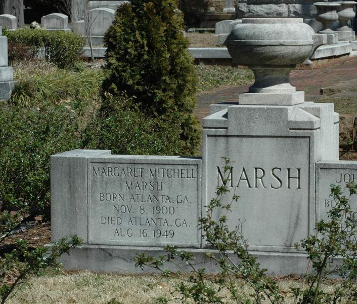 "The headstone and grave of Margaret Mitchell Marsh, author of ""Gone With the Wind"", in historic Oakland Cemetery in Atlanta, Georgia. Margaret Mitchell died at Grady Hospital of injuries received when she was struck down by a speeding automobile on Peachtree Street."
