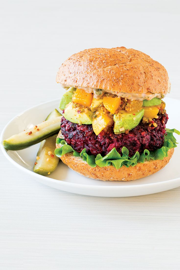 Beet Burger with Avocado Peach Salsa #goodfoodrealfast