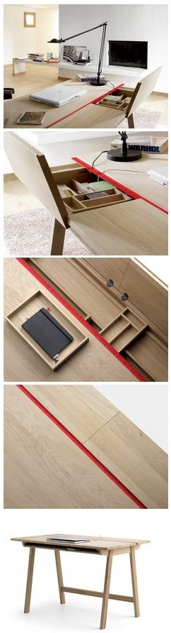 Landa Desk. oak desk with brush strip for cables