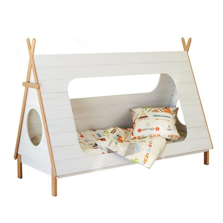 Lit 90x200cm en pin massif en forme de tipi Blanc et naturel - Tipi - Les lits enfants - Meubles d'enfant et bébé - Tous les meubles - Décoration d'intérieur - Alinéa