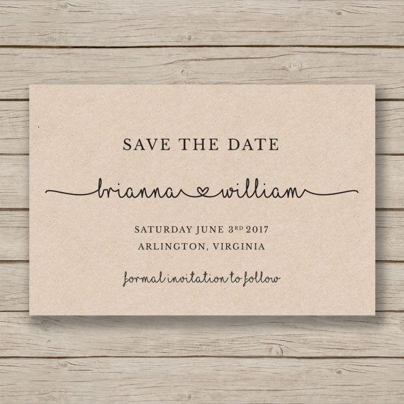 Save The Date Printable Template Diy Wedding Rustic Card Print On Kraft Instant Templett Brianna In 2018