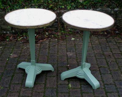 Authentiques anciennes tables de bistrot signées godin france