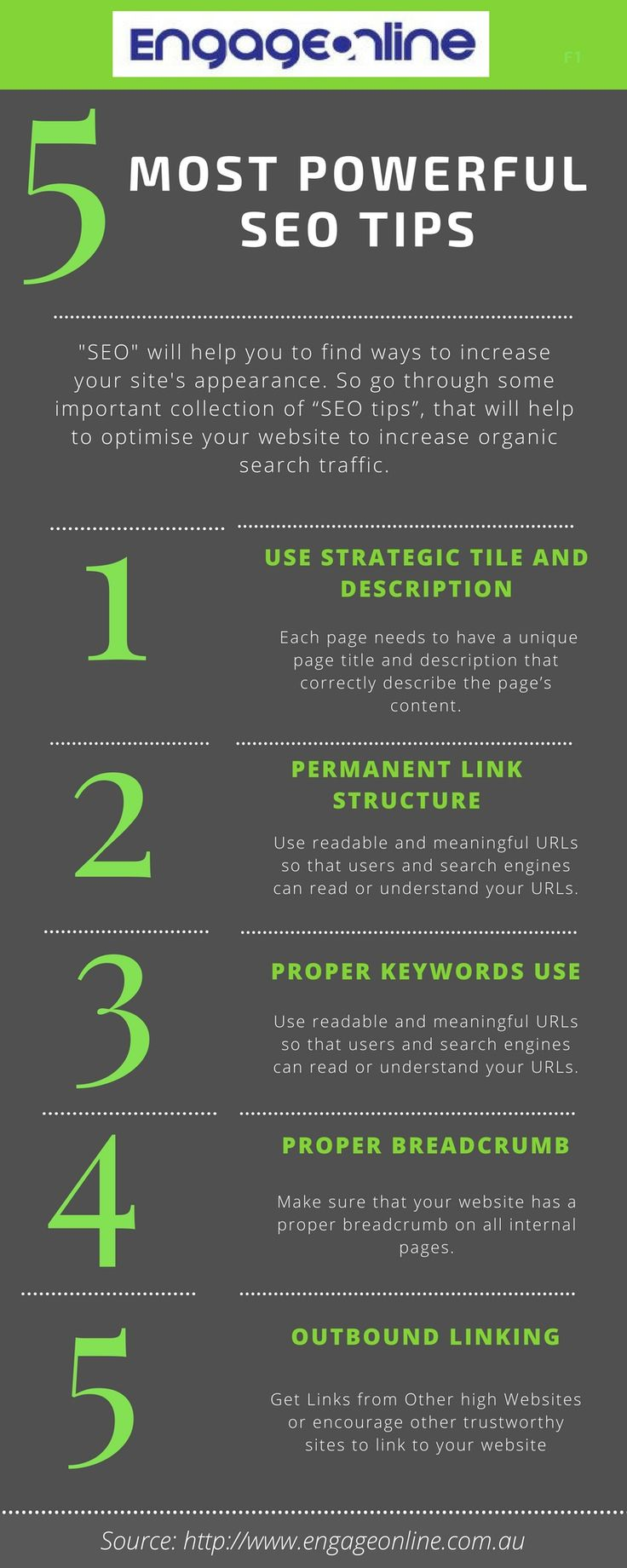 "5 Most Powerful SEO Tips To Boost Your Website Ranking  Ready to drive more traffic and land more sales? Use this simple ""SEO Tips"" properly to make a website rank higher in search engines. Visit: http://www.engageonline.com.au/boost-organic-traffic-seo-tips/"