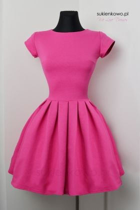 Rozkloszowana sukienka HAIDI amarantowa OUTLET