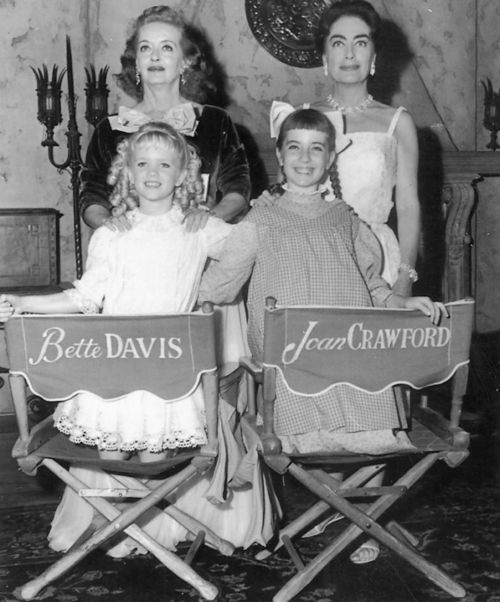 """Great publicity photo from """"Whatever Happened To Baby Jane"""" with Bette and Joan with their younger counterparts."""