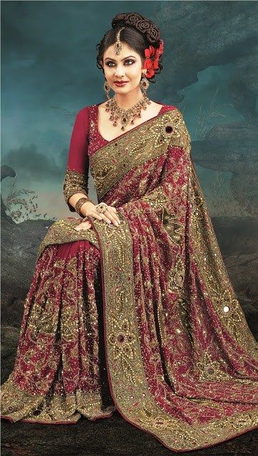 Latest Designs Of Indian Bridal Sarees 2014 For Women 008 fashion news