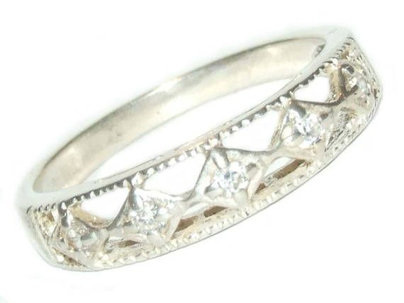 Avon Sterling Silver Victorian Filigree Cz Band Ring