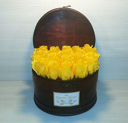 QM165/ Queen Roses sárga selyemrózsa rózsadoboz faládika