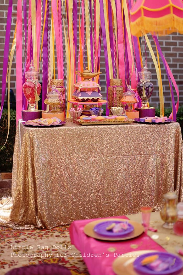 Cute dessert table at an Arabian Belly Dancer Party with Lots of Really Cute Ideas via Kara's Party Ideas | KarasPartyIdeas.com #BellyDancerParty #ArabianPrincessParty #PrincessJasmine #PartyIdeas #DessertTable
