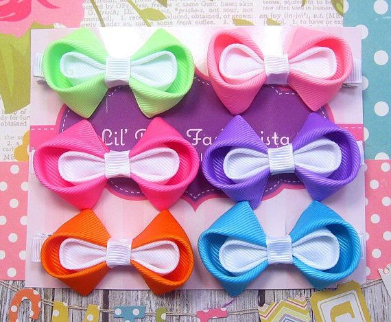 Set of 6 Kanzashi Hair Bows / Girls by TheBowfairyBowtique on Etsy, $18.00