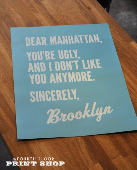 NYC poster: Manhattan Sincerely, Quotes, Dear Manhattan, York, Things, Nyc, Sincerely Brooklyn