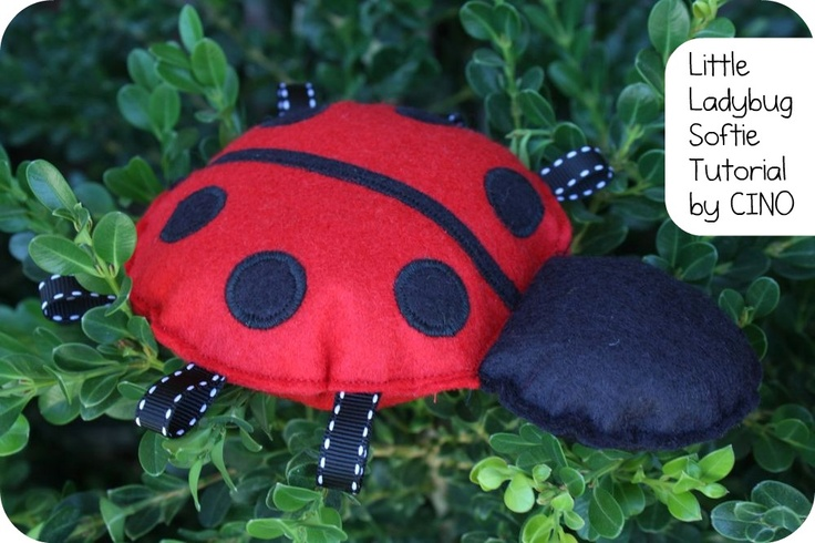 Ladybug softie instructions- felt or fabric- could put squeaker in head for added baby interest.