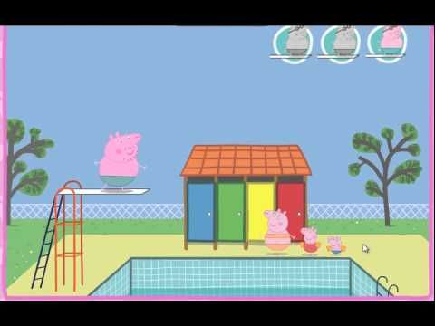 Peppa Pig Swimming Pool Diving Game  english full episodes