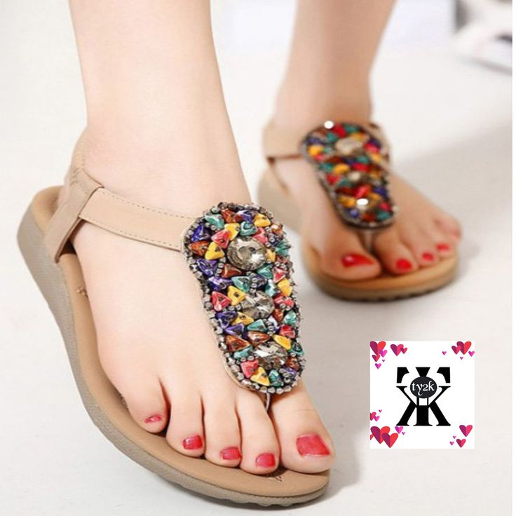 Stylish Flat Heel and Beading Design Sandals For Women - Apricot size 37 #NotAvailable #FlipFlops #Casual