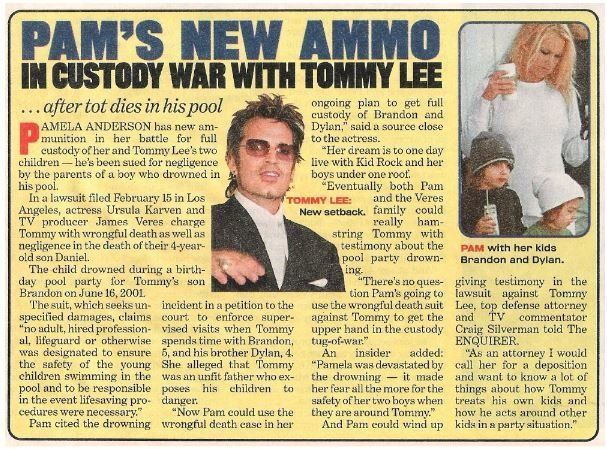 Anderson, Pamela / Pam's New Ammo | Magazine Article with 2 Photos | 2002 | with Tommy Lee