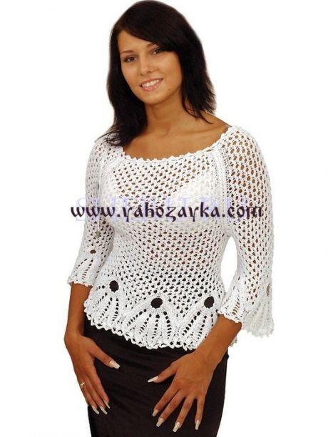 Белая блузка спицами и крючком. Летние модели блузки с схемами Белая блузка спицами и крючком. Летние модели блузки с схемами