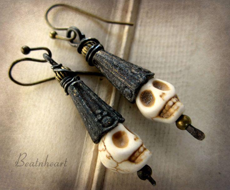 Wee lads skull earrings Halloween rustic primitive jewelry by beatnheart on Etsy https://www.etsy.com/listing/252934587/wee-lads-skull-earrings-halloween-rustic
