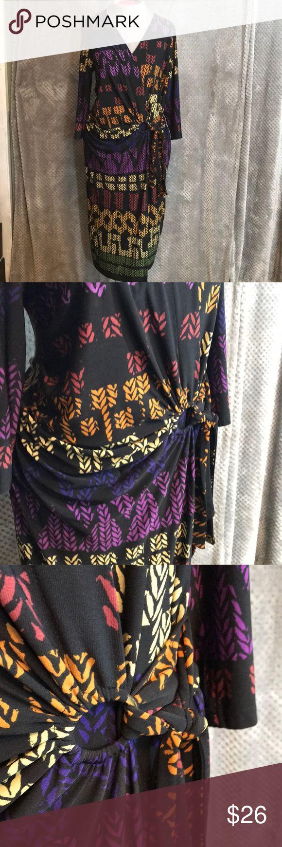 "Lennie for Nina Leonard geometric print wrap dress Great colorful wrap dress. Bust is approx 16"". Length 46"" lennie for nina leonard Dresses Midi"