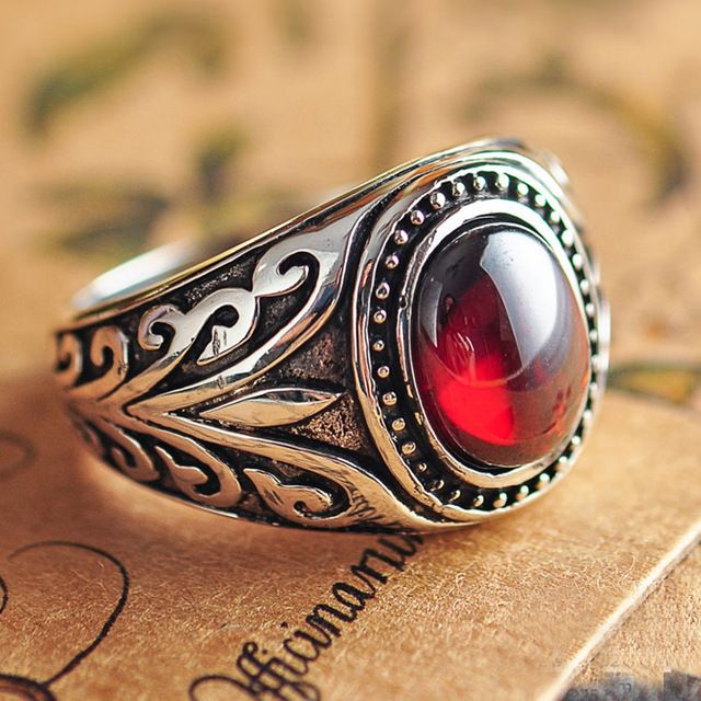 Real 925 Sterling Silver Jewelry Vintage Rings For Men Engraved Flowers With Black Onxy Red Garnet Natural Stone Ruby Jewellery