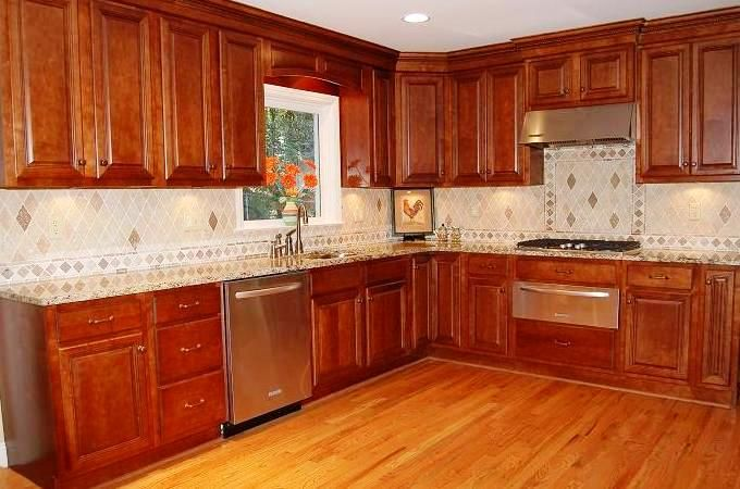 Kitchen:Wooden Kitchen Remodeling Ideas For Small Kitchens Design Decor Feat Wooden Kitchen Cabinets Plus Tiles Ceramic Backsplashes Ideas And With Sink Faucet Also Laminate Kitchen Flooring Ideas Minimalist Kitchen Remodeling Ideas with Big Brown Wooden Cabinets and Shelves