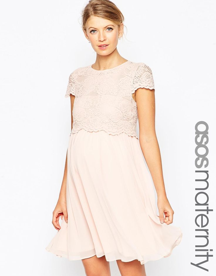 Image 1 of ASOS Maternity Skater Dress With Lace Crop Top